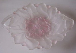 Vintage Optic Glass Compote Bowl with Frosted Roses (Fostoria ?)